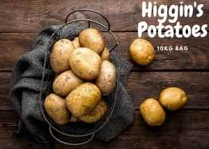10kg bag of potatoes from local supplier Higgins Potatoes